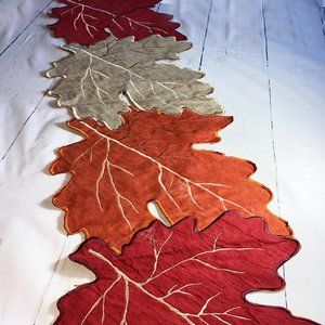 Fall Autumn Leaves Table Runner Suede-like by Mera Linens, Thanksgiving Table